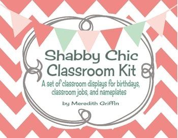 Shabby Chic Classroom Charts Kit Birthdays Jobs Nameplates