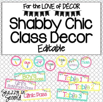 Shabby Chic: Classroom Decor {Editable}
