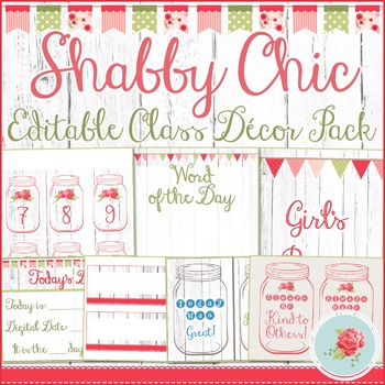 Shabby Chic Classroom Decor Pack
