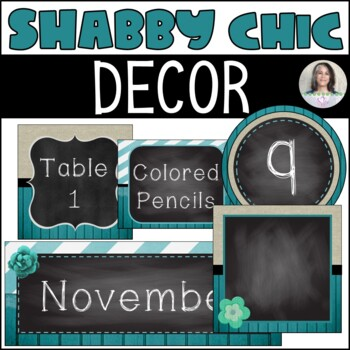 Shabby Chic Classroom Décor Set - Wood, Burlap, Chalkboard, Teal, Lace - LOOK!