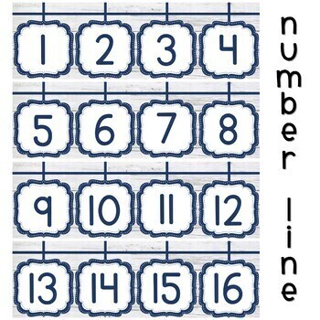 Shabby Chic Classroom Decor Themes Number Posters with number line