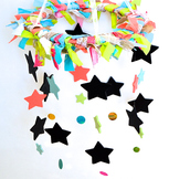 Shabby Chic Classroom Names/Birthdays Mobile- Chalkboard stars & painted stars