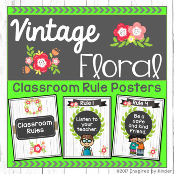 Shabby Chic Classroom Rules {Vintage Floral Design}