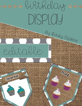 Shabby Chic Cupcake Classroom Birthday Display- Turquoise, Gray Dots, and Burlap