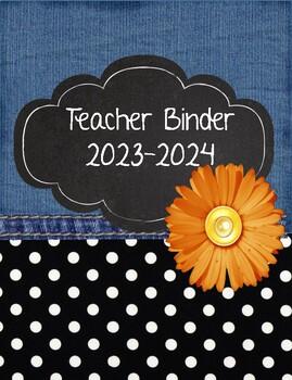 Shabby Chic Denim, Polka Dots, and Flowers Teacher Binder 2018-2019
