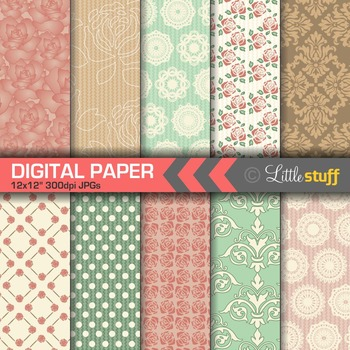 Shabby Chic Digital Paper Backgrounds, Muted Colors