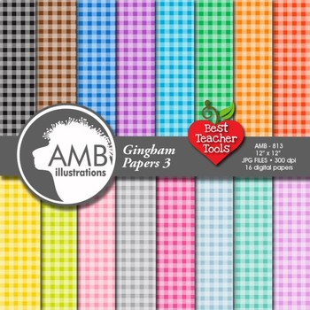 Shabby Chic Digital Papers, Multi-Colored Gingham Plain Pattern, AMB-813