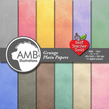 Shabby Chic Digital Papers, Multi-Colored Grunge Plain Pattern, AMB-1066
