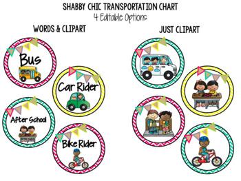 Shabby Chic Editable Transportation Chart