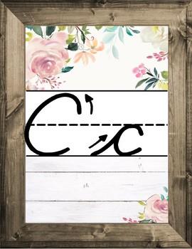 Shabby-Chic Farmhouse Shiplap Inspired Cursive Alphabet Cards