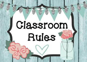 Shabby Chic/Farmhouse Themed Classroom Rules Display