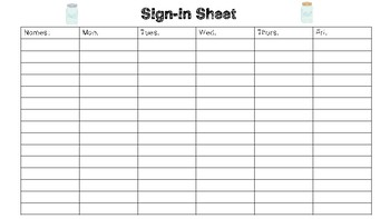 Shabby Chic/Farmhouse Themed Sign-in and Sign-out Sheet