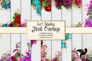 Shabby Chic Floral Overlays, clipart, digital paper, rustic wedding invitation