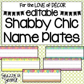 Name Plates - Shabby Chic {EDITABLE}