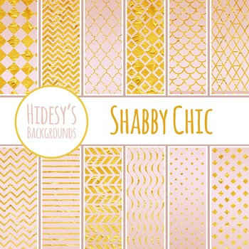Shabby Chic Pink and Gold Backgrounds  / Digital Papers Cl