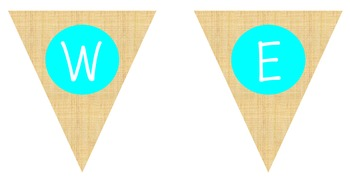 Shabby Chic Primitive Burlap Welcome Banner Teal Pink Burg