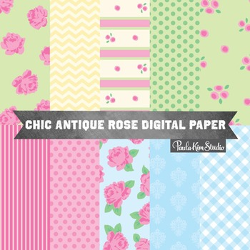 Antique Chic Rose Digital Paper