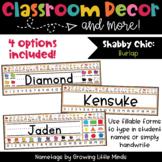 Shabby Chic Rustic Burlap EDITABLE Nametags Classroom Decor