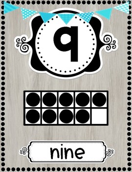 Shabby Chic / Rustic Number Posters