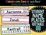 Shabby Chic Rustic Rainbow Burlap EDITABLE Nametags Classroom Decor