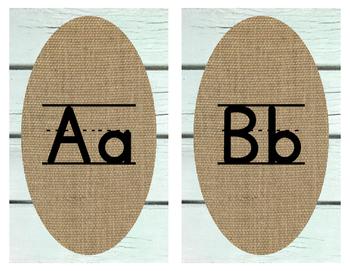 Shabby Chic - Shiplap and Burlap Print Alphabet Line