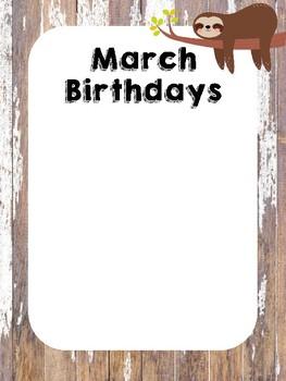Shabby Chic Sloth Birthday Posters