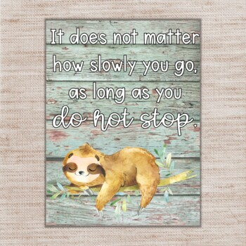 Shabby Chic Sloth Motivational Quotes Posters