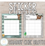 Shabby Chic Sloth Print and Cursive Sticker Charts in Engl