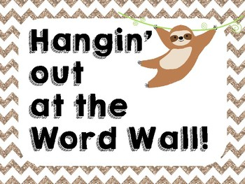Shabby Chic Sloth Word Wall Letters and Word Cards