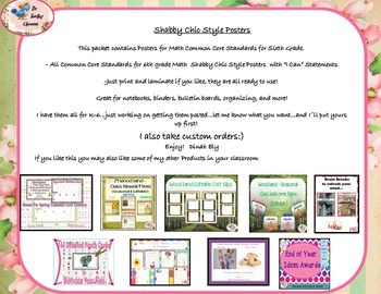 Shabby Chic Style I Can Posters Sixth Grade Common Core Standards - Math
