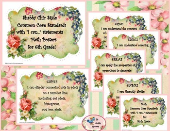 Shabby Chic Style I Can Posters Sixth Grade Common Core St