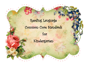 Shabby Chic Style Kindergarten Common Core Standards Reading Language Posters