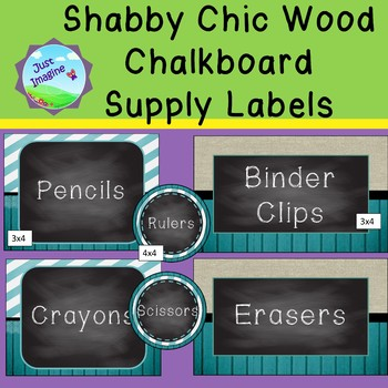 Shabby Chic Supply Labels - 3 backgrounds - Burlap, Wood, Chalkboard, Teal