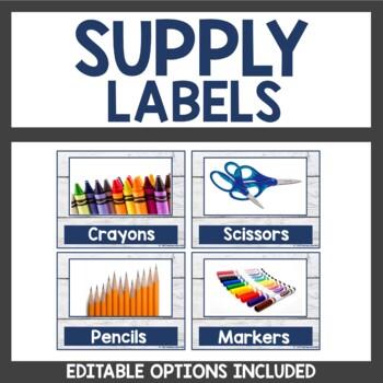 Shabby Chic Supply Labels classroom decor