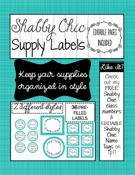 Shabby Chic Supply Labels with EDITABLE pages