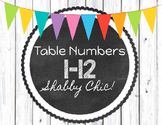 Shabby Chic Table Numbers 1-12