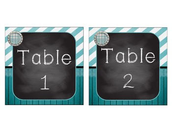 Shabby Chic Table & Station Signs 1-8 - Burlap, Wood, Chalkboard, Teal