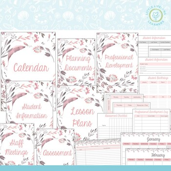 Teaching Binder and Planner - Pink and Green Themed