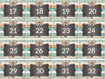 Shabby Chic Teal Classroom Numbers