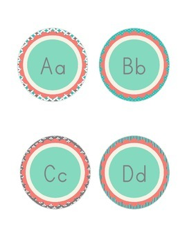 Shabby Chic (Teal, Gray & Coral) Alphabet Letter Cards Aa-Zz