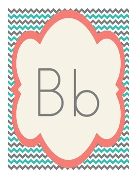 Shabby Chic (Teal, Gray & Coral) Alphabet Posters