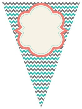 Shabby Chic (Teal, Gray & Coral) Blank Banner *Editable