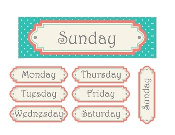 Shabby Chic (Teal, Gray & Coral) Calendar Cards