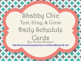 Shabby Chic (Teal, Gray & Coral) Daily Schedule Cards *Editable