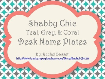 Shabby Chic (Teal, Gray & Coral) Desk Name Plates *Editable