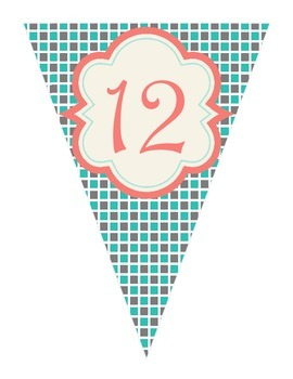 Shabby Chic (Teal, Gray & Coral) Grade Level Banners (PreK - 12th Grade)