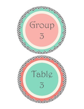 Shabby Chic (Teal, Gray & Coral) Group and Table Signs 1-6