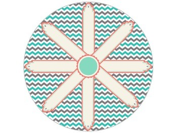 Shabby Chic (Teal, Gray & Coral) Job Chart / Spinner *Editable