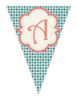 Shabby Chic (Teal, Gray & Coral) Math Banner