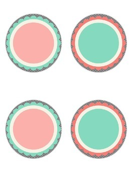 Shabby Chic (Teal, Gray & Coral) Medium Round Signs *Editable